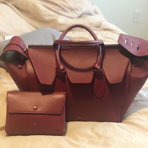 Burgundy Celine tie knot bag with matching pouch